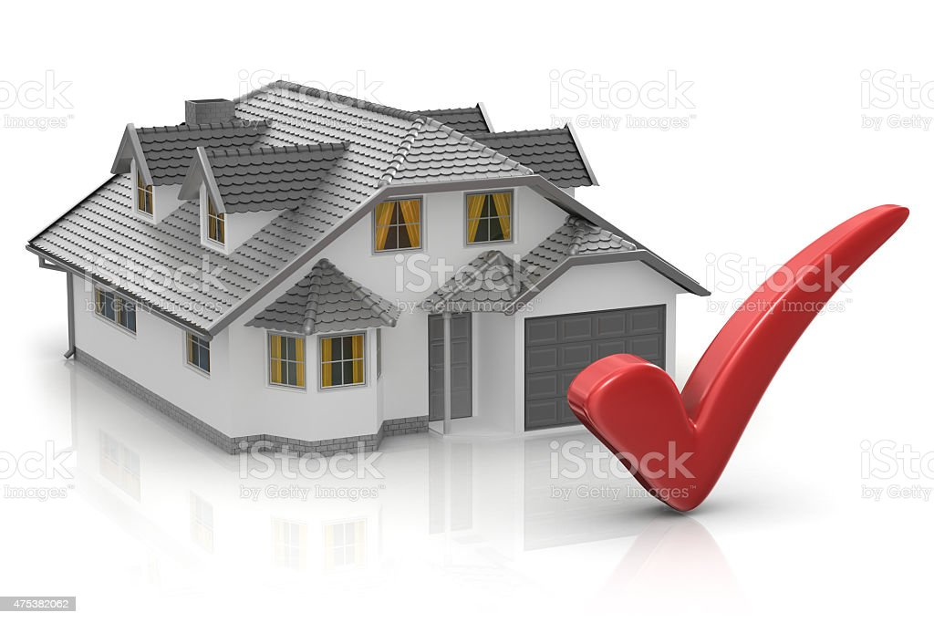 House and Check Mark stock photo
