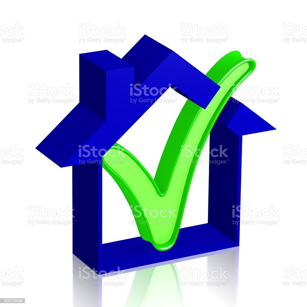3D house and checkmark concept stock photo