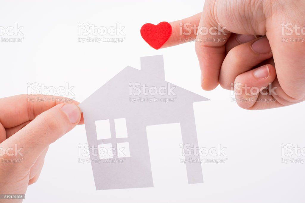 House and clipped heart stock photo