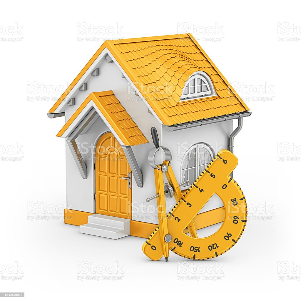 house and drawing compass with protractor royalty-free stock photo