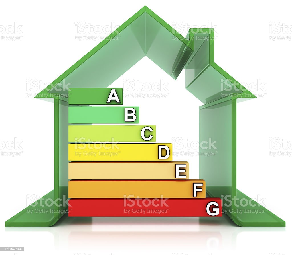 House and Energy Efficiency Rating Symbols royalty-free stock photo