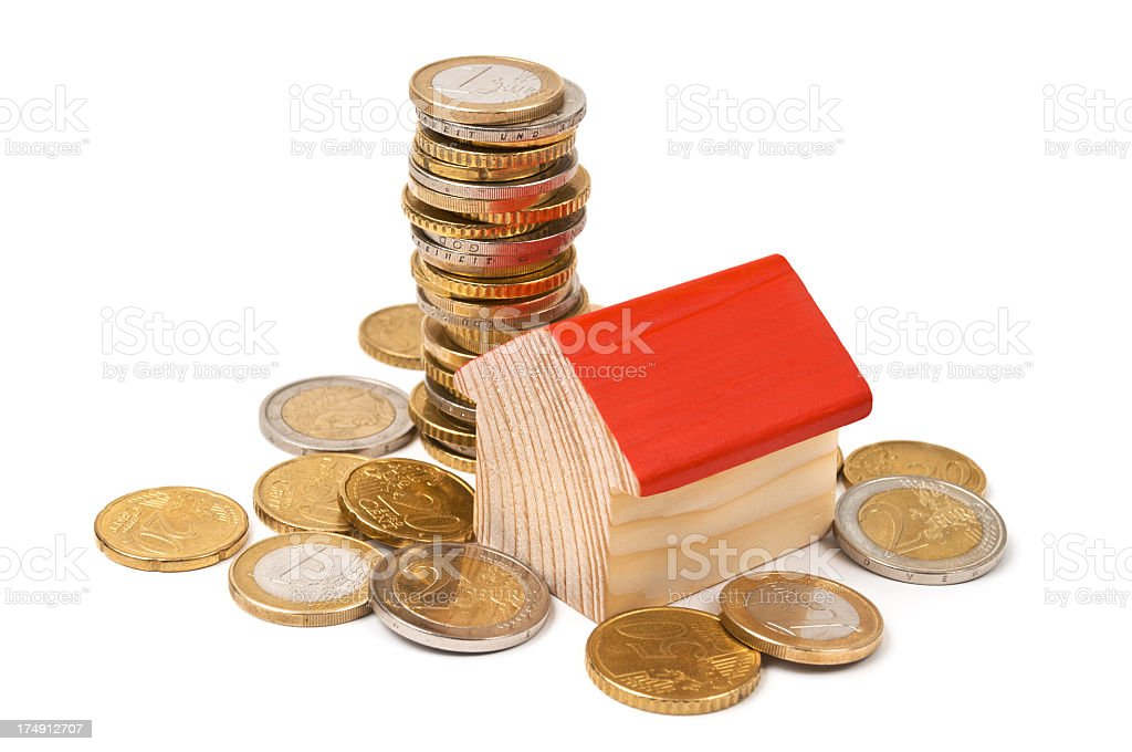 House and euro coins royalty-free stock photo