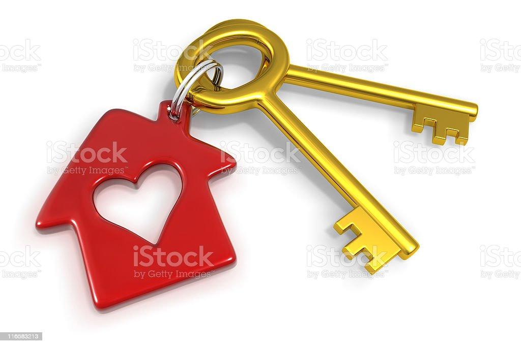 house and heart key trinket royalty-free stock photo
