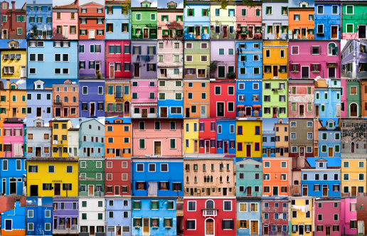 Extra Extra Extra Large will print to up to three foot by two foot. This collage tells the story of an island in the Venetian Lagoon. The colour of the houses follow a specific system. When an owner wishes to paint their house they have to send a request to their government, who will respond by letting the owner know which specific colours are permitted for that area. This practice has resulted in the myriad of warm, pastel colours that characterizes the island today. Or is the legend the true reason for these colours, which has it that the houses were painted by fishermen to recognize them from far off distances during the long periods of absence whilst fishing.