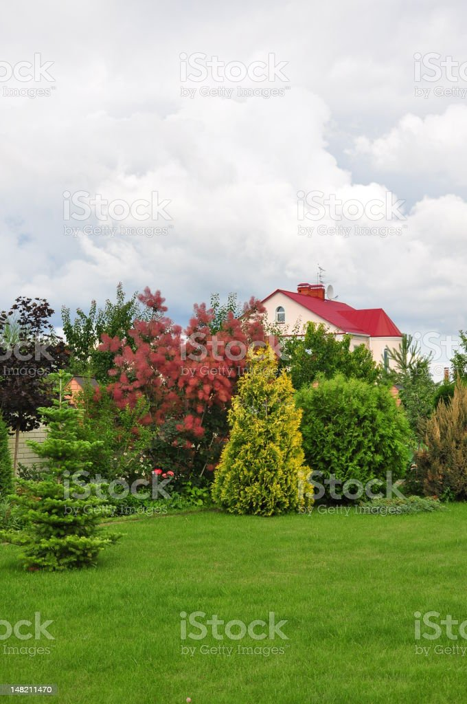 house and its garden royalty-free stock photo