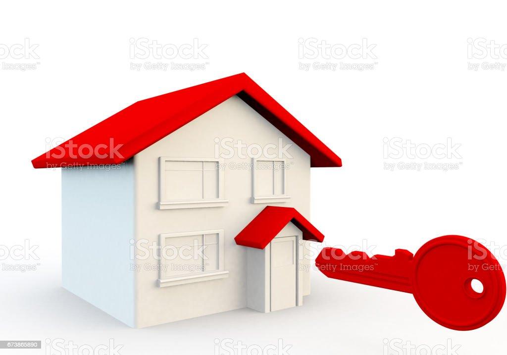 house and key 3d render photo libre de droits