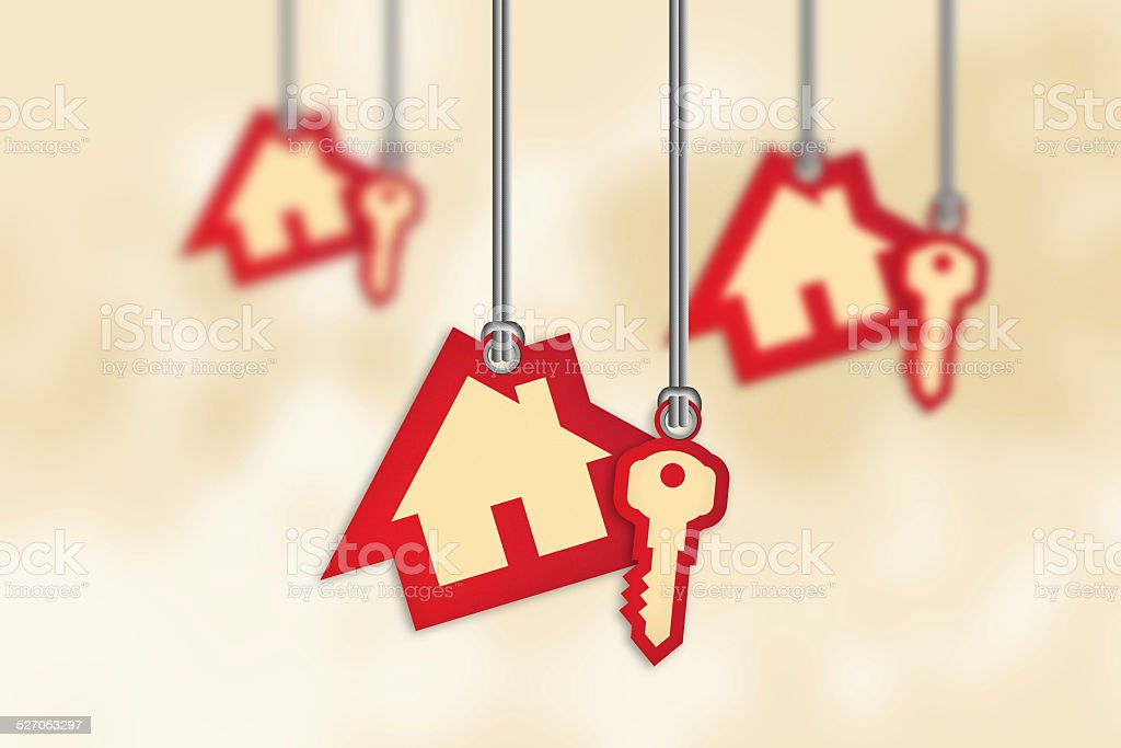House and key shaped price label tags stock photo