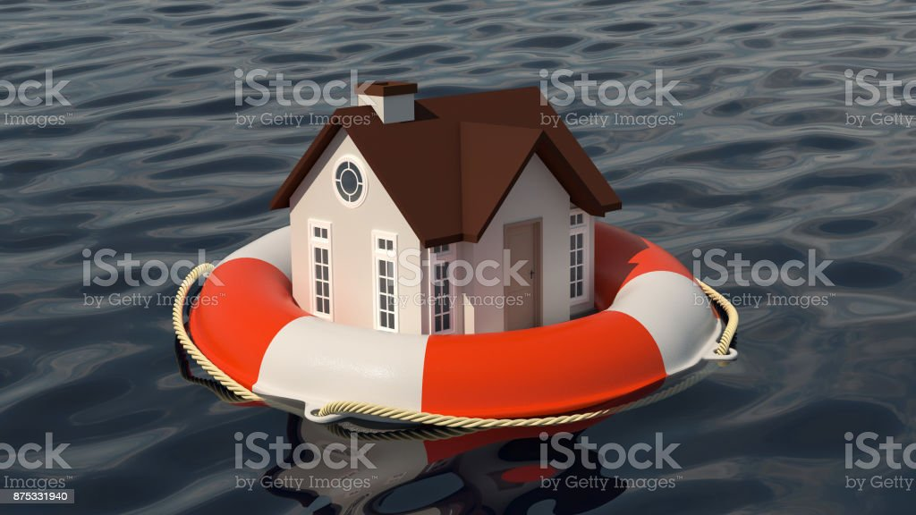 House and lifebuoy on water surface. stock photo