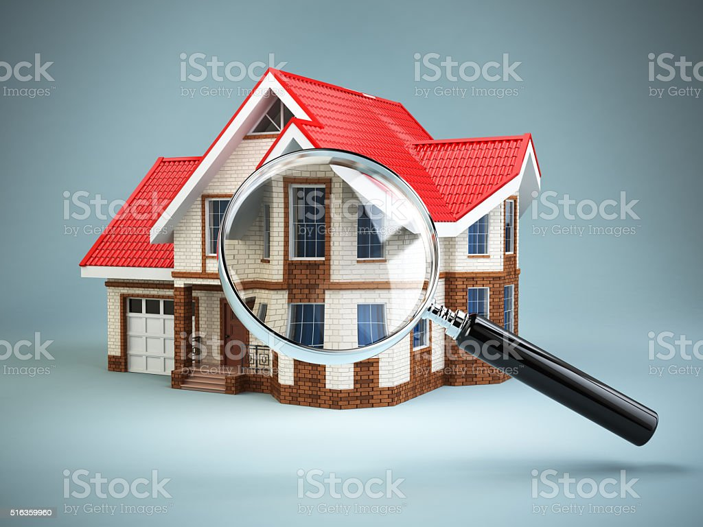 House and loupe magnifying glass. Real estate searching concept. stock photo