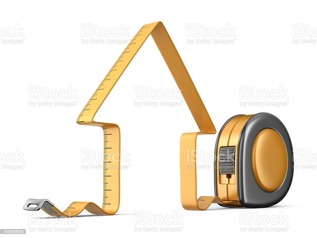 House and measuring tape 3D. Construction tool. Icon isolated stock photo