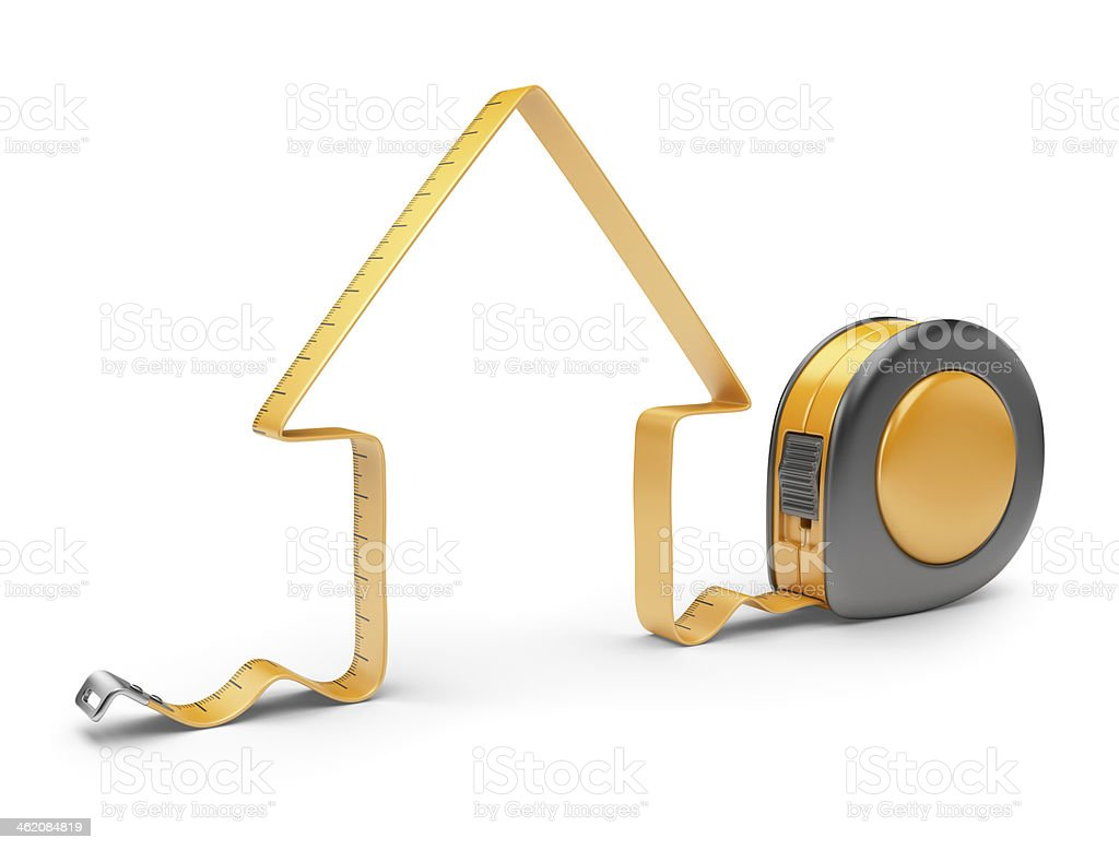 House and measuring tape. Construction tool. 3D Icon isolated stock photo