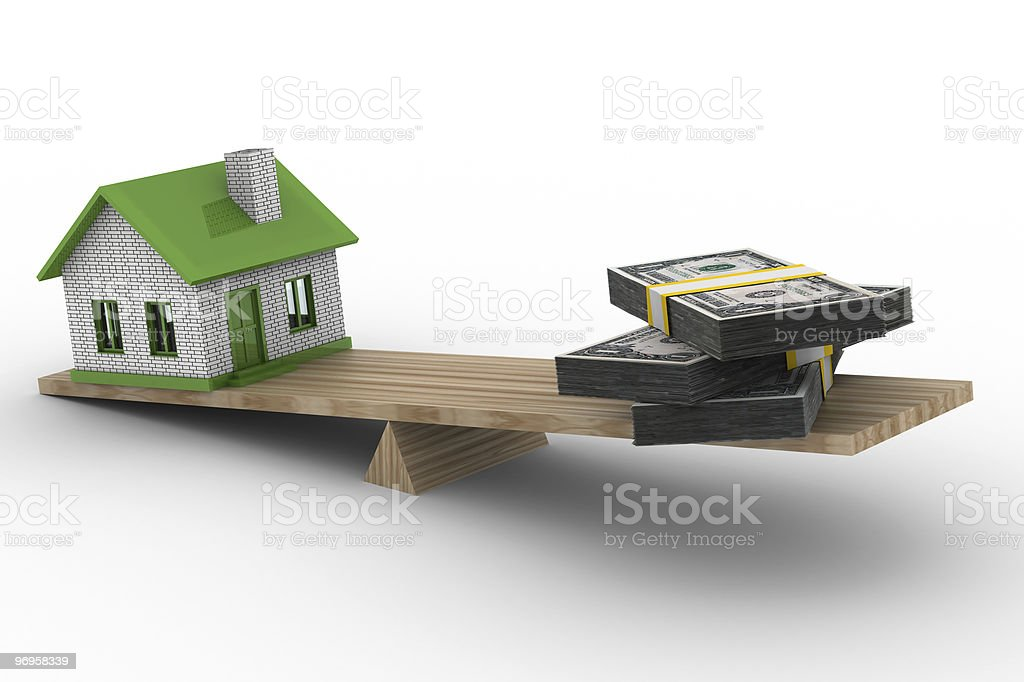 house and money on scales. Isolated 3D image royalty-free stock photo