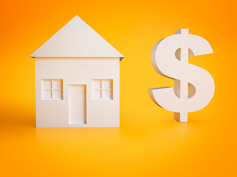 House for sell, buy or rent concept represented by a white house and a dollar sign over yellow background.