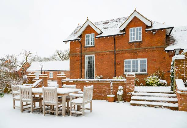 House and patio in snow stock photo