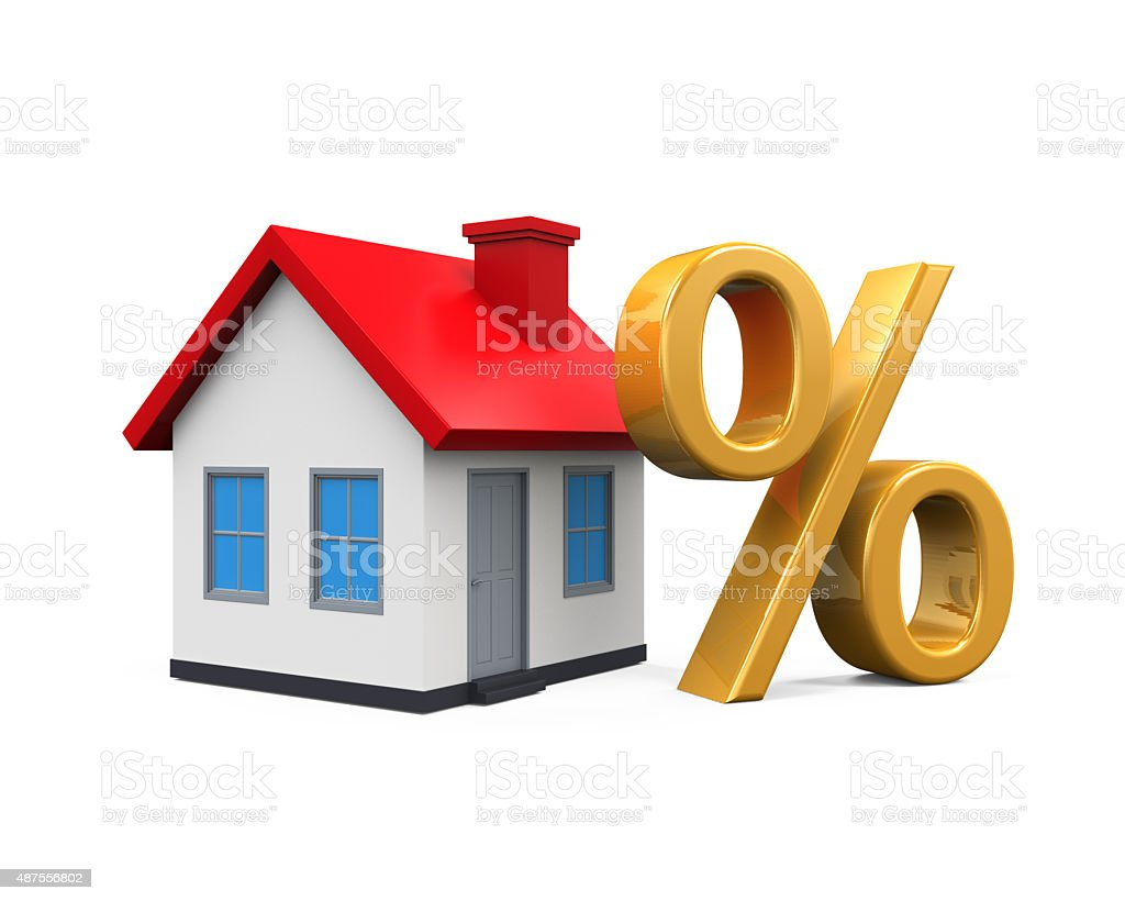 House and Percent Symbol stock photo