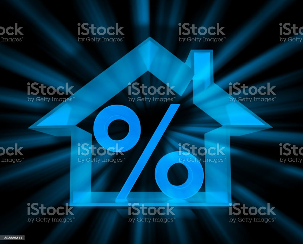 House and Percentage Symbol stock photo