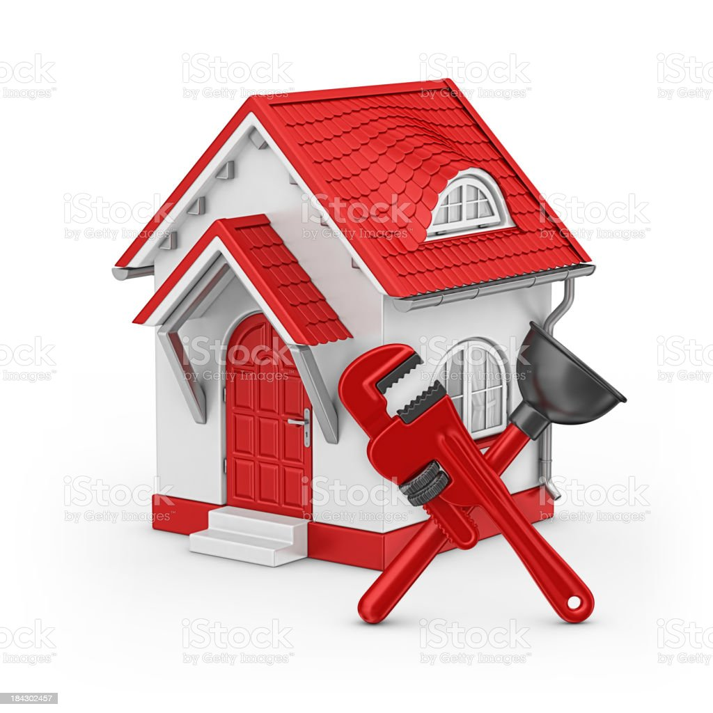 house and plunger with wrench royalty-free stock photo