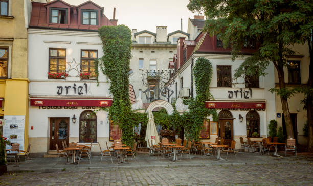 House and restaurant in Jewish Quarter of the Kazimierz district in Krakow, Poland stock photo
