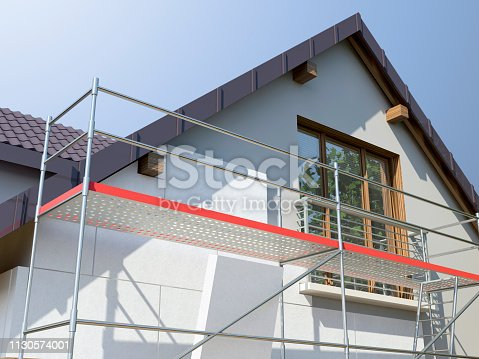 istock House and scaffolding, 3D illustration 1130574001