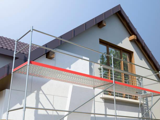 casa e impalcature, illustrazione 3d - costruire foto e immagini stock