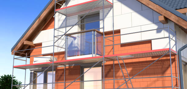 House and scaffolding House warming polystyrene stock pictures, royalty-free photos & images