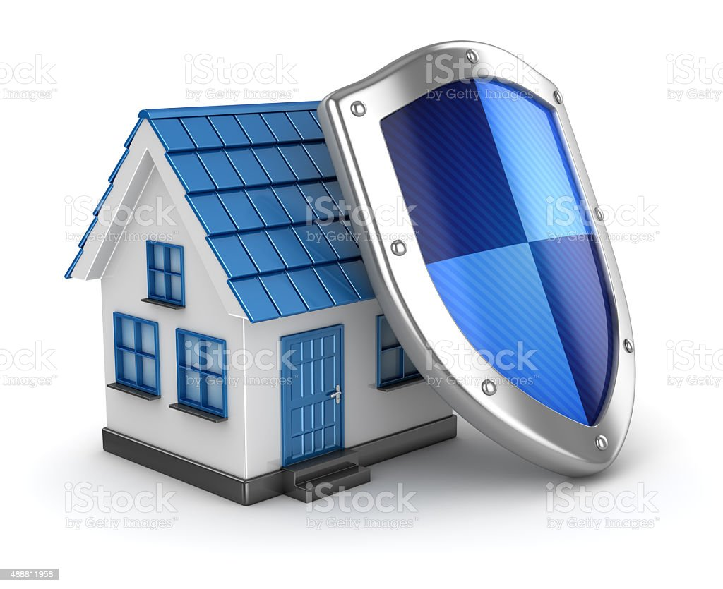 House and shield stock photo