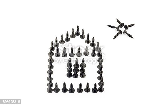 istock House and star drawing with black Oxidized self-tapping screw isolated on white background 697998316