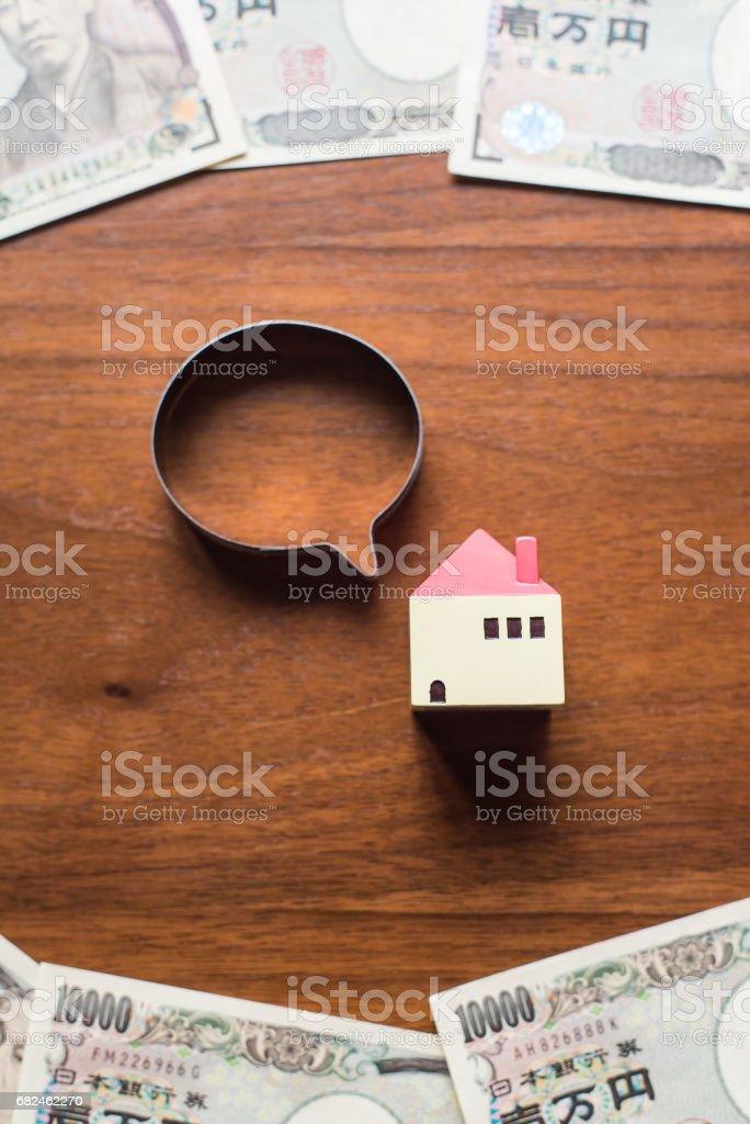 House and ten thousands yen bills royalty-free stock photo