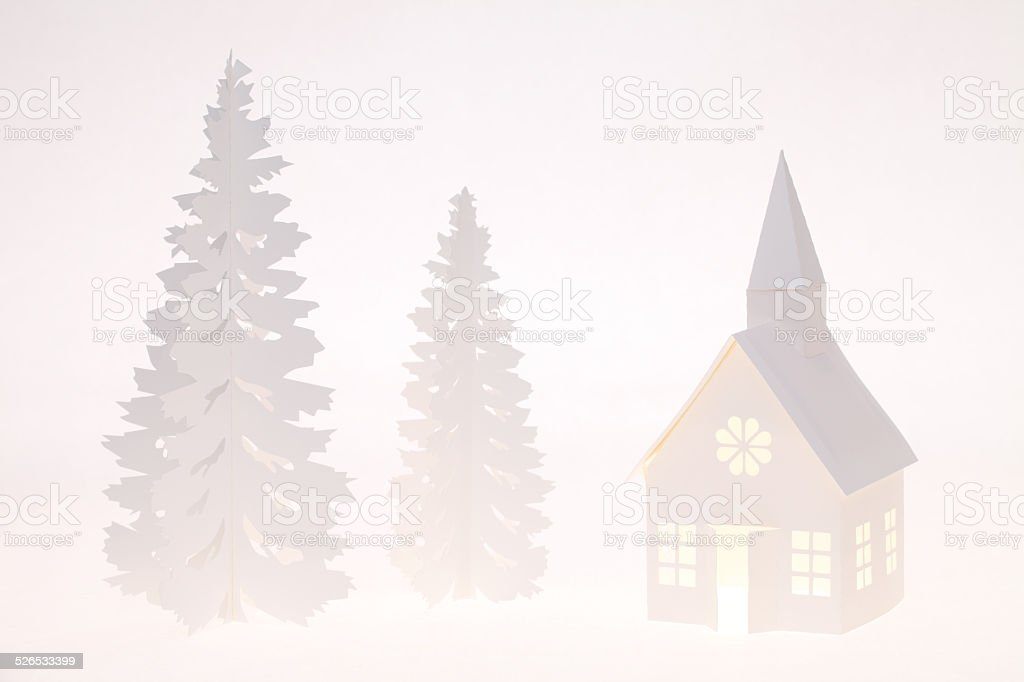 house and tree from a paper stock photo