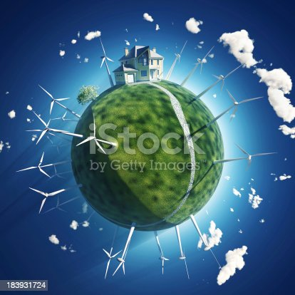 istock house and wind turbine on green planet 183931724