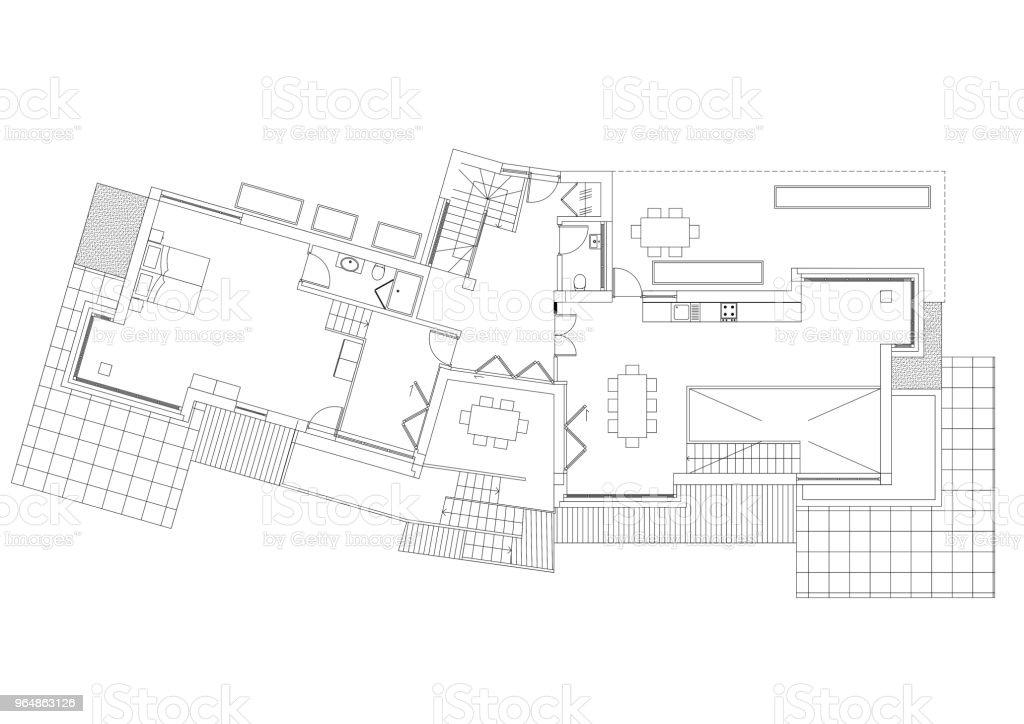 House Architect blueprint - isolated royalty-free stock photo
