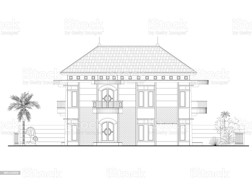 House Architect blueprint - isolated royalty-free stock photo