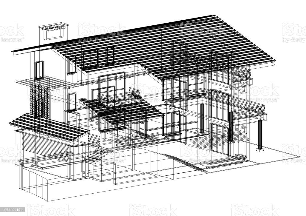 House Architect blueprint - isolated zbiór zdjęć royalty-free