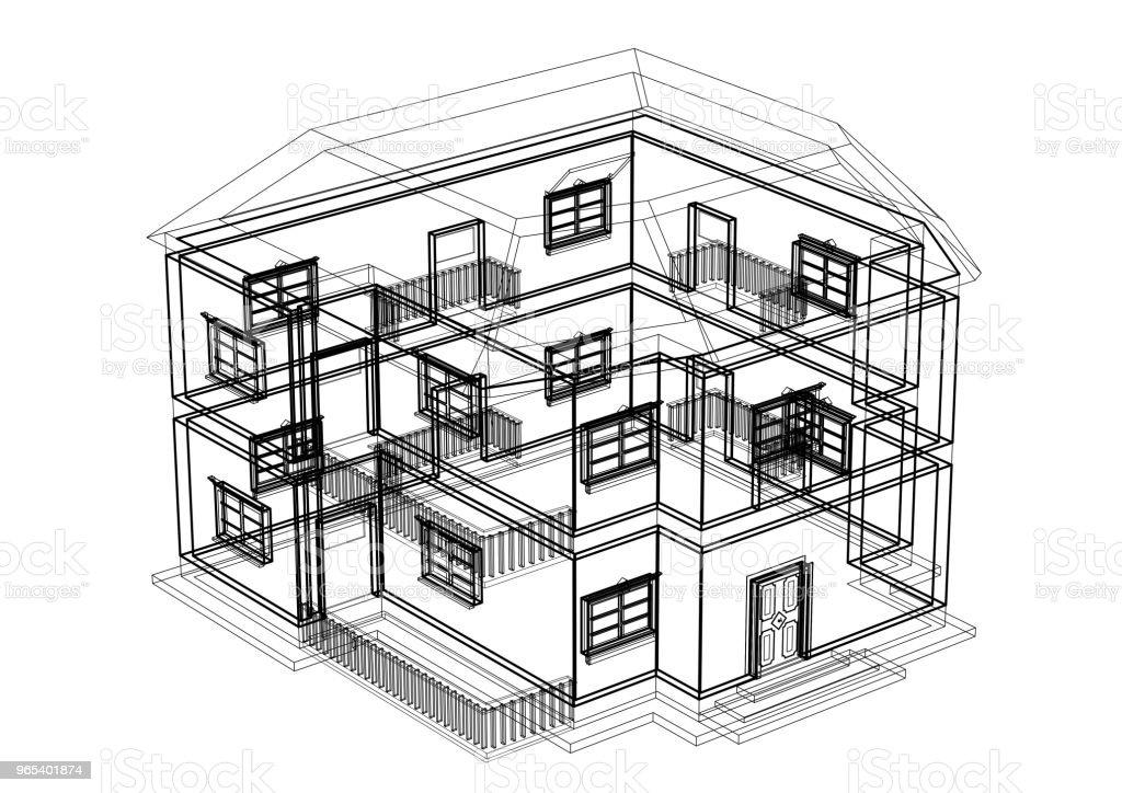 House architect design blueprint - isolated royalty-free stock photo