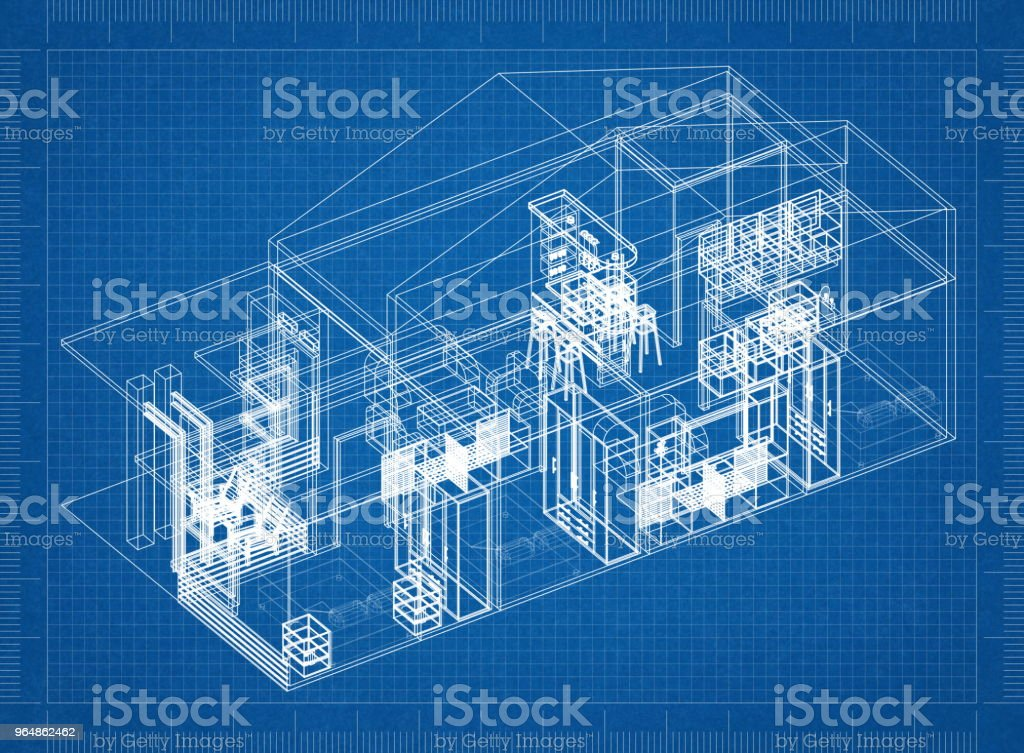House architect design blueprint royalty-free stock photo