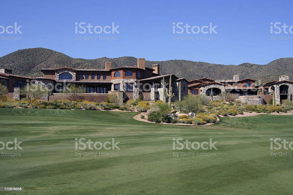House at golf course 3 stock photo