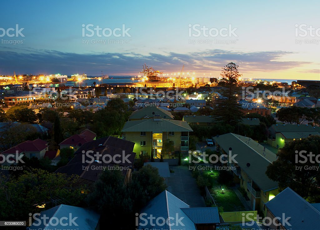 House at night in the city stock photo