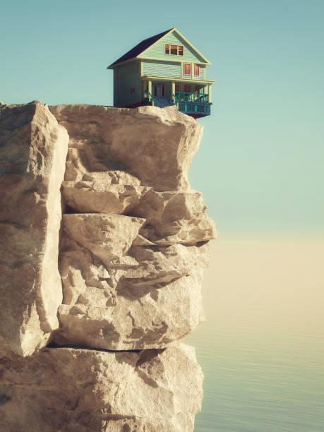 dom na skraju otchłani na szczycie górskim na dużych wysokościach. jest to ilustracja renderowania 3d. - klif zdjęcia i obrazy z banku zdjęć