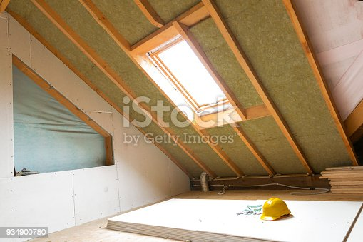 istock House attic under construction mansard wall insulation with rock wool 934900780
