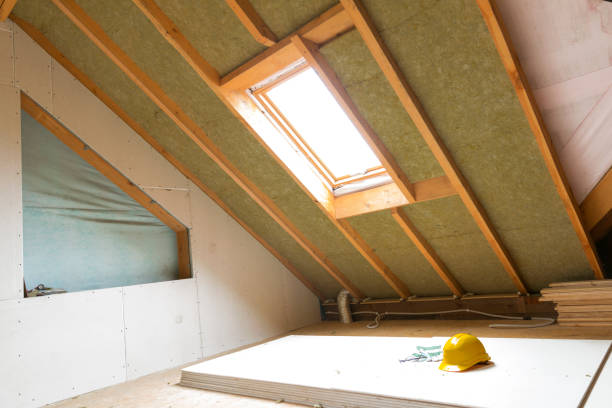 House attic under construction mansard wall insulation with rock wool House attic under construction mansard wall insulation with rock wool attic stock pictures, royalty-free photos & images