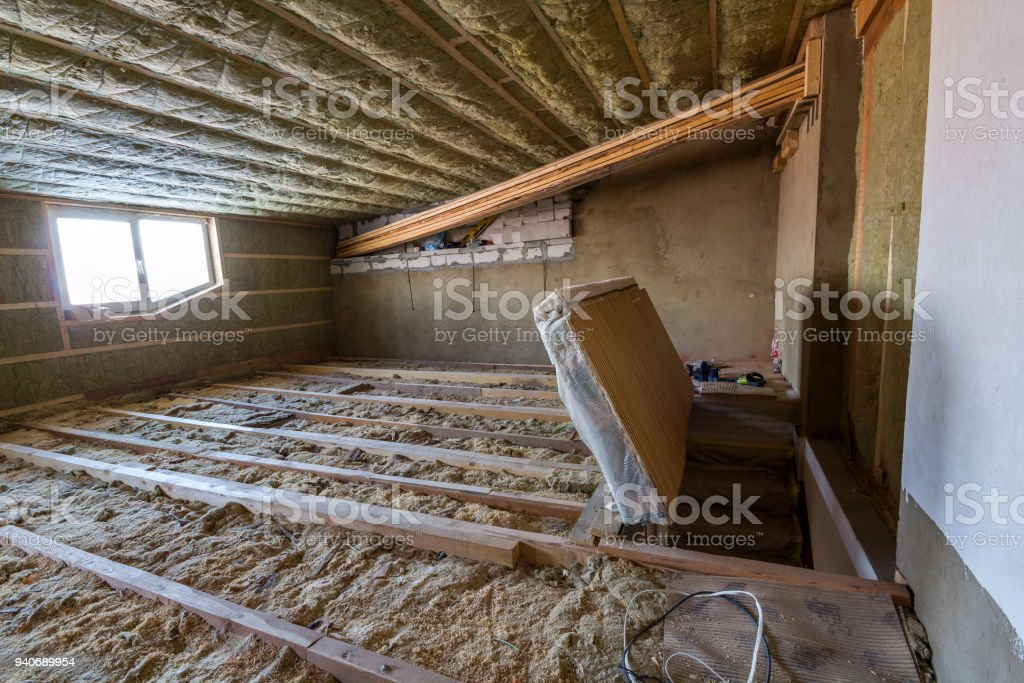 House Attic Under Construction Mansard Walls And Ceiling ...