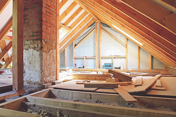 house attic under construction - loft apartment stock pictures, royalty-free photos & images