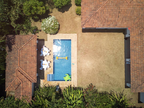 house backyard with swimming pool - competition group stock photos and pictures
