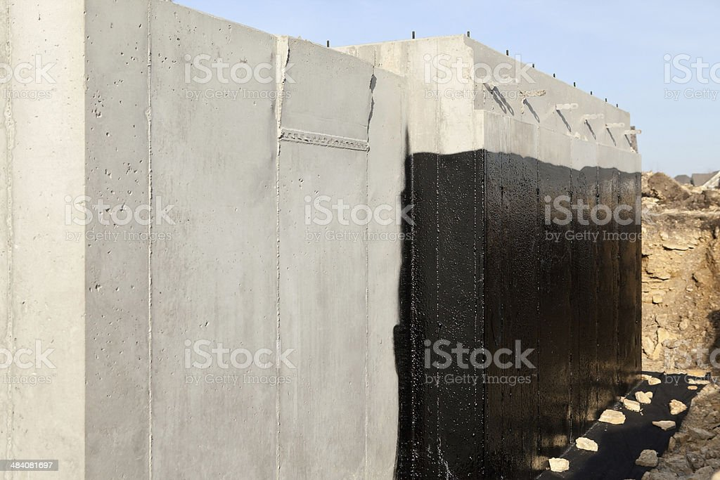 House Basement Wall Foundation with Waterproof Sealant stock photo
