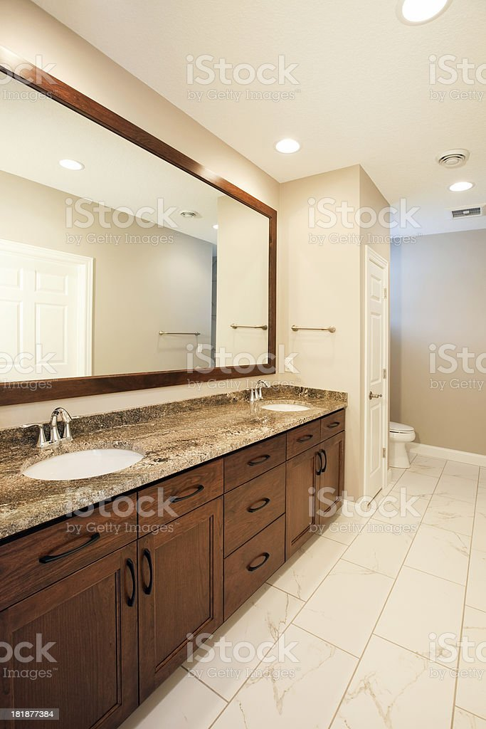 House Bathroom Double Vanity with Large Mirror stock photo