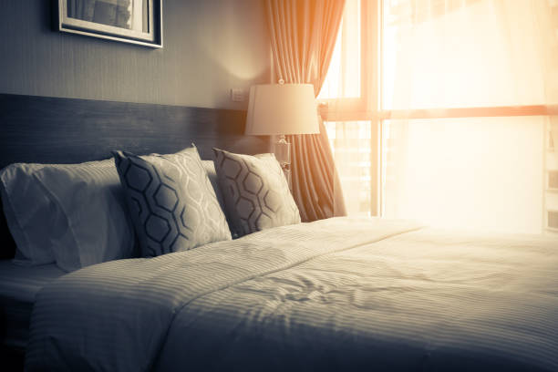 house beautiful design concept with soft cozy pillow on bed in bedroom house beautiful design concept with soft cozy pillow on bed in bedroom hotel stock pictures, royalty-free photos & images