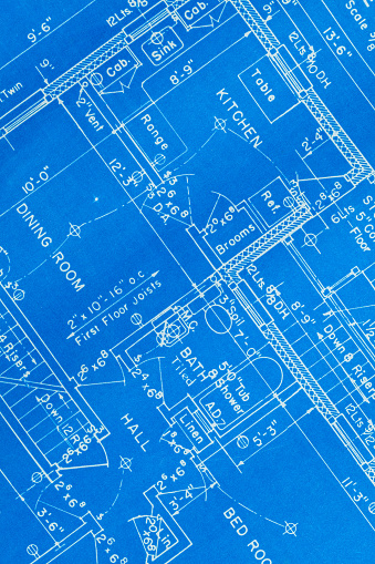 Residential House Paper Blue Print Close Up.