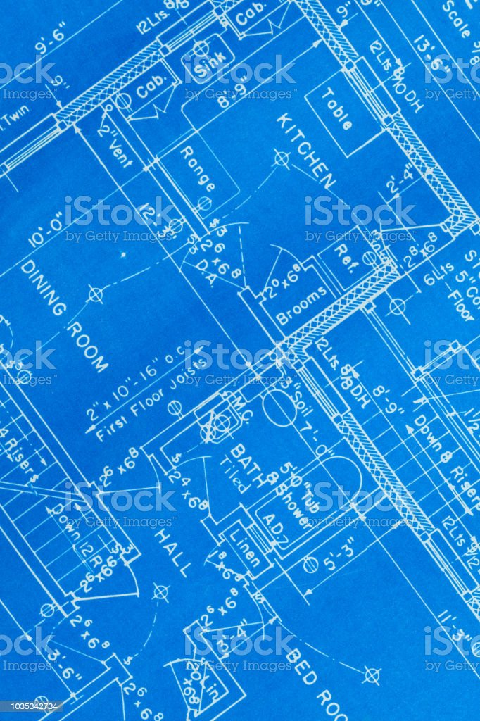House Blue Prints Close Up stock photo