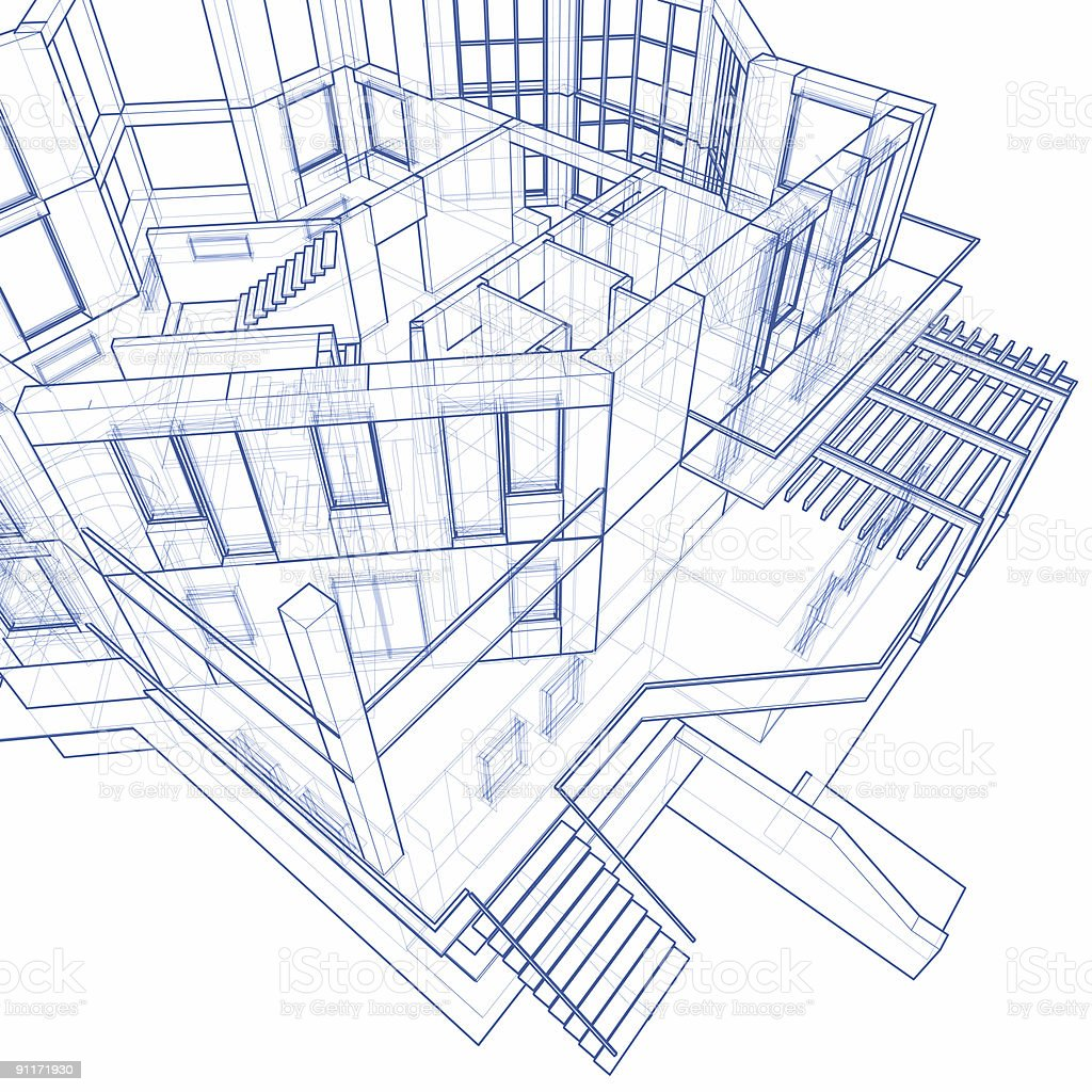 House Blueprint: 3d Technical Concept Draw Royalty Free Stock Photo
