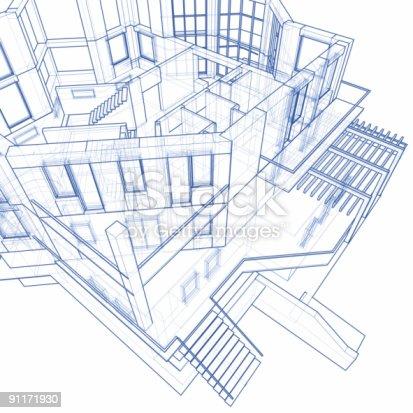 istock house blueprint: 3d technical concept draw 91171930